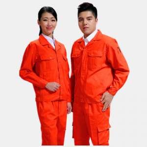 长袖橙色磨毛公主岭市铜川环保娱乐厅工作服