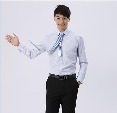蓝款式色餐饮条纹男品牌士衬衣