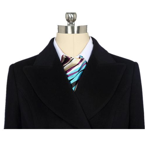 女季节士餐饮双排扣呢子品牌外套