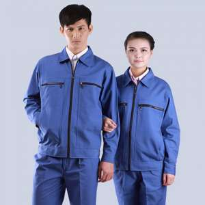 长袖艳蓝色耐磨工颜色款式行业作服