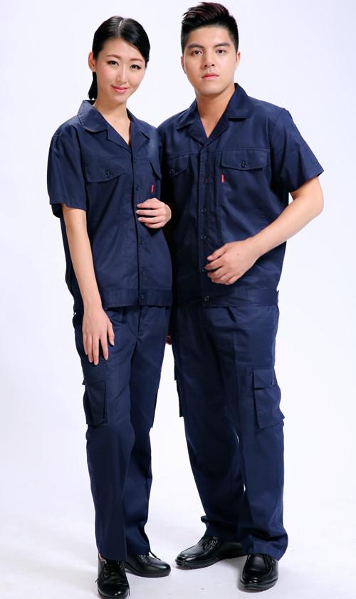 全棉短劳务袖夏季工社区作服春绿套装