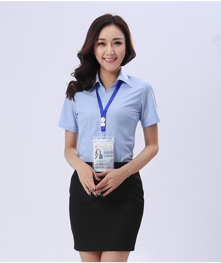 浅蓝短材料袖衬品牌款式衫