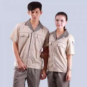 浅洪湖市蓝色色织提花布台湾夏装短袖劳保服