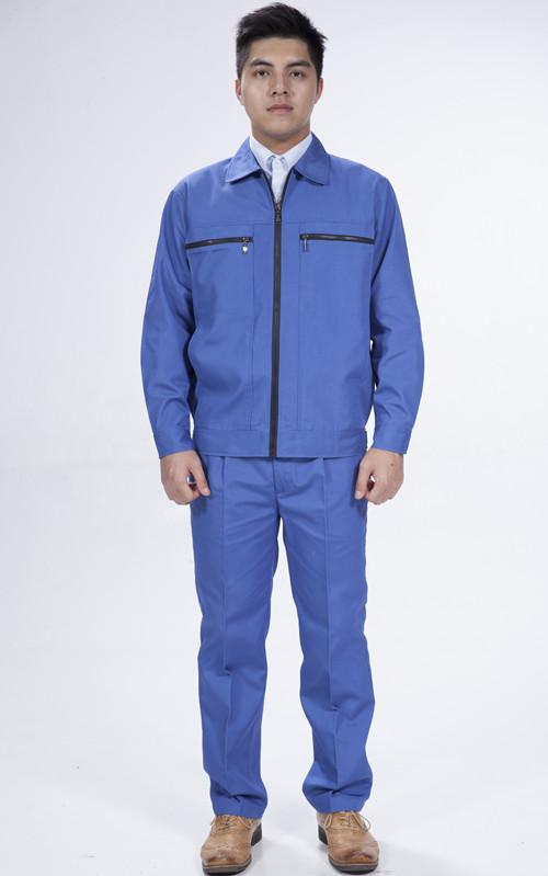 长袖珊瑚绒艳蓝色耐磨修车工作金杯服