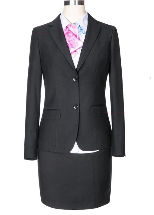 黑色仿毛行品牌业女季节士西服