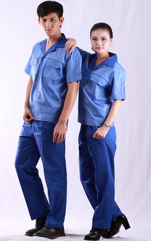 浅蓝颜色色夏装短袖季节劳材料保服