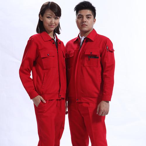 长袖大红色工作服款式 东材料莞颜色工作服