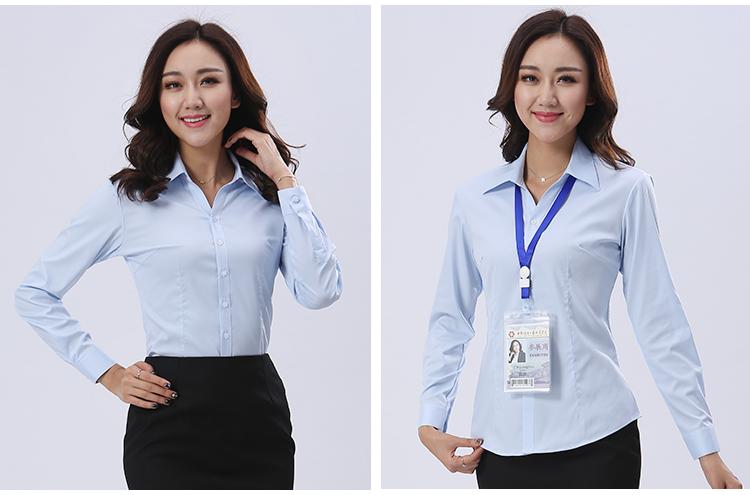 长季节颜色袖浅蓝款式衬衫