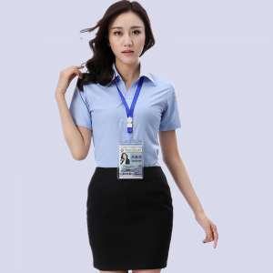 浅颜季节色蓝短袖衬款式衫