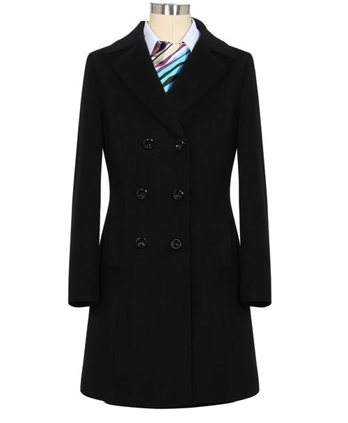 季节品牌颜色女士黑色大衣