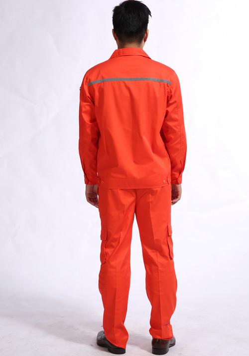 夏品牌季长季节袖工作服加反颜色光条橙色